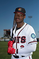Modesto Nuts outfielder Kyle Lewis (2) poses for a photo before a California League game against the Lake Elsinore Storm at John Thurman Field on May 13, 2018 in Modesto, California. Lake Elsinore defeated Modesto 4-3. (Zachary Lucy/Four Seam Images)