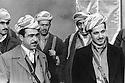 Iraq 1974 <br /> The resumption of hostilities, left, Idris Barzani and right, Masoud Barzani, sons of Mustafa Barzani, with their peshmergas   <br /> Irak 1974 <br /> La reprise de la lutte arm&eacute;e, a gauche Idris Barzani et a droite Masoud Barzani, fils de Mustafa Barzani avec leurs peshmergas