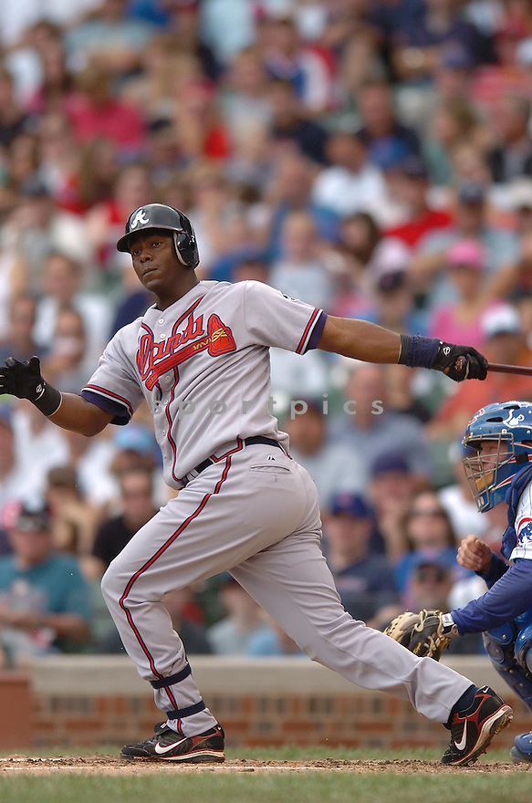 EDGAR RENTERIA, of the Atlanta Braves , in action during the Braves game against the Chicago Cubs in Chicago, IL, on June 4,  2007...Cubs win 7-2...CHRIS BERNACCHI/ SPORTPICS..