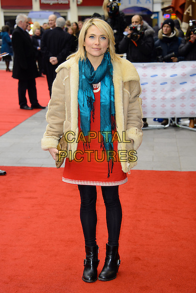 Lisa Rogers.The Prince's Trust and Samsung Celebrate Success Awards at the Odeon Leicester Square, London, England..26th March 2013 .full length black tights ankle boots red dress beige sheepskin jacket coat green scarf.CAP/CJ.©Chris Joseph/Capital Pictures.
