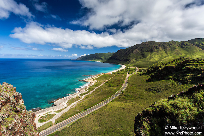 Aerial view of Farrington Hwy. along Yokohama Bay on Oahu's west side