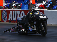 Nov 7, 2013; Pomona, CA, USA; NHRA pro stock motorcycle rider Jerry Savoie during qualifying for the Auto Club Finals at Auto Club Raceway at Pomona. Mandatory Credit: Mark J. Rebilas-