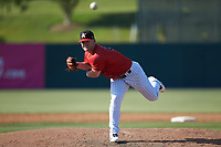 Kannapolis Intimidators relief pitcher Alex Destino (23) delivers a pitch to the plate against the Delmarva Shorebirds at Kannapolis Intimidators Stadium on May 19, 2019 in Kannapolis, North Carolina. The Shorebirds defeated the Intimidators 9-3. (Brian Westerholt/Four Seam Images)