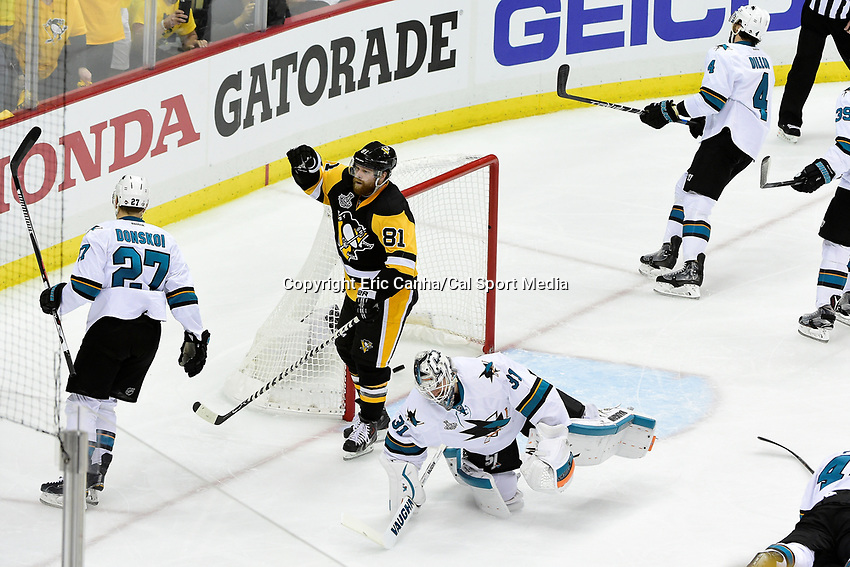 Wednesday, June 1, 2016: Pittsburgh Penguins right wing Phil Kessel (81) reacts to scoring a goal against San Jose Sharks goalie Martin Jones (31) during game 2 of the NHL Stanley Cup Finals  between the San Jose Sharks and the Pittsburgh Penguins held at the CONSOL Energy Center in Pittsburgh Pennsylvania. Eric Canha/CSM