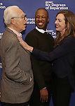 Playwright John Guare, Corey Hawkins and Allison Janney attend the 'Six Degrees Of Separation' Cast Meet & Greet at The New 42nd Street Studios on March 1, 2017 in New York City.