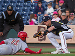"Aces Jake Lame puts the tag on Memphis Redbird runner Edmundo Sosa (12) at first base as he begins an MLB rehab assignment during the Reno Aces ""Star Wars Night"" in Reno on Saturday, June 8, 2019."