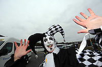 Pictured: Swansea supporters at Leigh Delamere services on the M4 motorway making their way to Wembley Stadium. Sunday 24 February 2013<br /> Re: Capital One Cup fooball final, Swansea v Bradford at the Wembley Stadium in London.