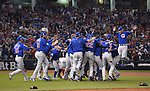 Chicago Cubs team group,<br /> NOVEMBER 2, 2016 - MLB :<br /> Chicago Cubs players including Munenori Kawasaki (L) celebrate after winning the Major League Baseball World Series Game 7 against the Cleveland Indians at Progressive Field in Cleveland, Ohio, United States. (Photo by AFLO)