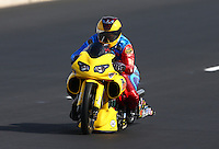 Jul. 20, 2013; Morrison, CO, USA: NHRA pro stock motorcycle rider Scotty Pollacheck during qualifying for the Mile High Nationals at Bandimere Speedway. Mandatory Credit: Mark J. Rebilas-