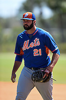 New York Mets Zach Mathieu (21) during practice before a minor league spring training game against the Miami Marlins on March 30, 2015 at the Roger Dean Complex in Jupiter, Florida.  (Mike Janes/Four Seam Images)