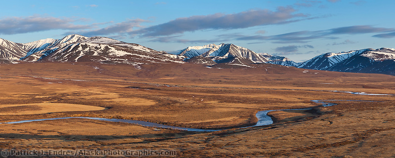 View of the Nigu River looking south at the Brooks Range mountains, Gates of the Arctic National Park, Alaska.