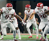 Hawgs Illustrated/Ben Goff<br /> Reid Bauer, Arkansas punter, punts in the the 1st quarter vs Texas A&M Saturday, Sept. 29, 2018, during the Southwest Classic at AT&T Stadium in Arlington, Texas.