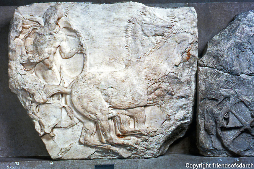 Greek Arts:  Parthenon Sculptures, South Frieze XXX--Four-horse chariot with soldier and charioteer.  Trustees of the British Museum 1986.