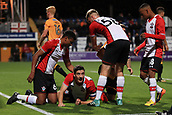 3rd October 2017, The Abbey Stadium, Cambridge, England; Football League Trophy Group stage, Cambridge United versus Southampton U21; Players gather round Alfie Jones of Southampton as  he scores and makes it 0-1