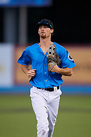 Hudson Valley Renegades center fielder Tanner Dodson (10) jogs back to the dugout during a game against the Tri-City ValleyCats on August 24, 2018 at Dutchess Stadium in Wappingers Falls, New York.  Hudson Valley defeated Tri-City 4-0.  (Mike Janes/Four Seam Images)