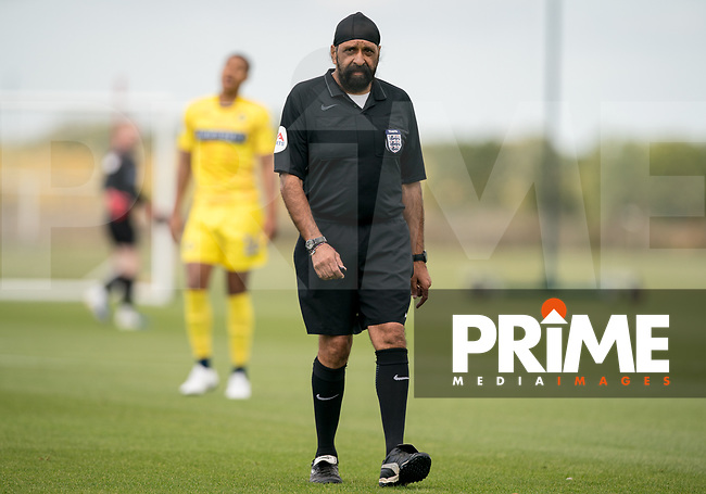 Referee Jarnail Singh during the behind closed doors friendly between Brentford B and Wycombe Wanderers at Brentford Football Club Training Ground & Academy, 100 Jersey Road, TW5 0TP, United Kingdom on 3 September 2019. Photo by Andy Rowland.