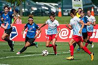Kansas City, MO - Saturday September 9, 2017: Desiree Scott, Christen Press during a regular season National Women's Soccer League (NWSL) match between FC Kansas City and the Chicago Red Stars at Children's Mercy Victory Field.