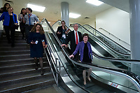 United States Senator Susan Collins (Republican of Maine) walks through the Senate Subway to attend a closed door briefing in the Senate SCIF with United States Secretary of State Mike Pompeo, United States Secretary of Defense Dr. Mark T. Esper, Gina Haspel, Director, Central Intelligence Agency (CIA), United States Army General Mark A. Milley, Chairman of the Joint Chiefs of Staff, and Acting Director of Intelligence Joseph Maguire at the United States Capitol in Washington D.C., U.S., on Wednesday, January 8, 2020.  97 senators were said to have attended the briefing, which discussed the U.S. drone strike on Iranian military leader Qasem Soleimani and the issue of Congressional authorization for such acts.<br /> <br /> Credit: Stefani Reynolds / CNP/AdMedia