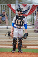 Central Connecticut State Blue Devils catcher Dylan Maher (16) during warmups before a game against the North Dakota State Bison on February 23, 2018 at North Charlotte Regional Park in Port Charlotte, Florida.  North Dakota State defeated Connecticut State 2-0.  (Mike Janes/Four Seam Images)