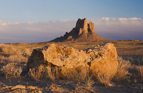 Rocks at sunset, Shiprock, Navajo Indian Reserve, New Mexico, USA, September 2006