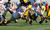 Ohio State Buckeyes defensive lineman Joey Bosa (97) tackles California Golden Bears running back Brendan Bigelow (5) for a loss during the first quarter of the NCAA football game at Memorial Stadium in Berkeley, California on Sept. 14, 2013. (Adam Cairns / The Columbus Dispatch)