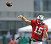 Josh McCown #15, quarterback, throws a pass during New York Jets Training Camp at the Atlantic Health Jets Training Center in Florham Park, NJ on Tuesday, Aug. 8, 2017.