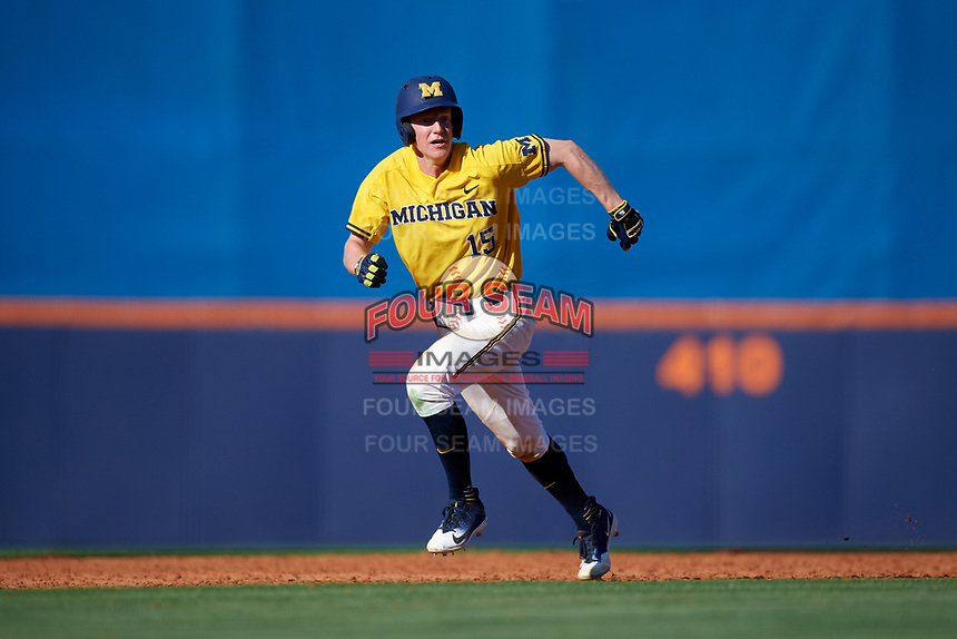 Michigan Wolverines third baseman Jimmy Kerr (15) running the bases during a game against Army West Point on February 17, 2018 at Tradition Field in St. Lucie, Florida.  Army defeated Michigan 4-3.  (Mike Janes/Four Seam Images)