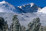 Winter wind blows snow off of Longs Peak summit, Rocky Mtn Nat'l Park, CO
