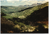 Panoramic view of the Lake Fork Valley as seen from an Ophir High Line bridge.  Windy Point can be seen at left.<br /> RGS  Ophir Loop, CO  Taken by Koken, Richard