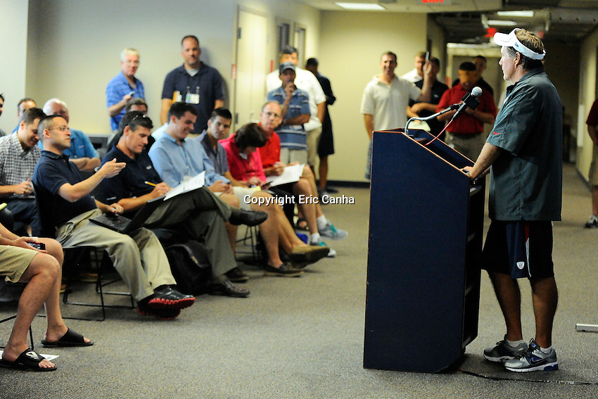July 26, 2012 New England Patriots head coach Bill Belichick takes media questions on  the opening day of the New England Patriots training camp held at Gillette Stadium, Foxborough, Massachusetts.  Eric Canha/CSM