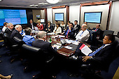 United States President Barack Obama is briefed by FEMA Administrator Craig Fugate and Homeland Security Secretary Janet Napolitano on the outlook for hurricane season and the Federal government's efforts to prepare in advance during a meeting in the Situation Room of the White House, Thursday, May 27, 2010.  .Mandatory Credit: Pete Souza - White House via CNP