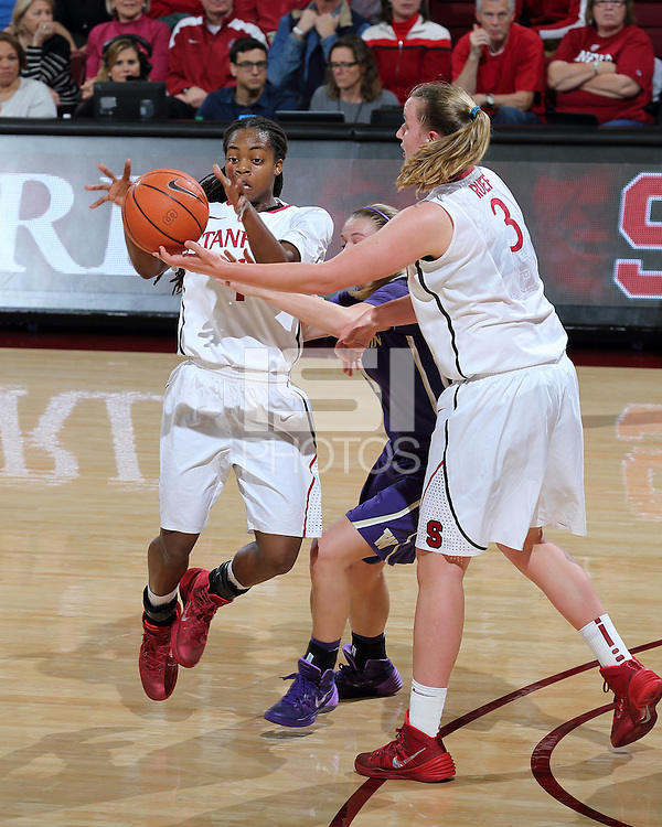STANFORD, CA - February 27, 2014: Stanford Cardinal's Mikaela Ruef hands off to Lili Thompson during Stanford's 83-60 victory over Washington at Maples Pavilion.