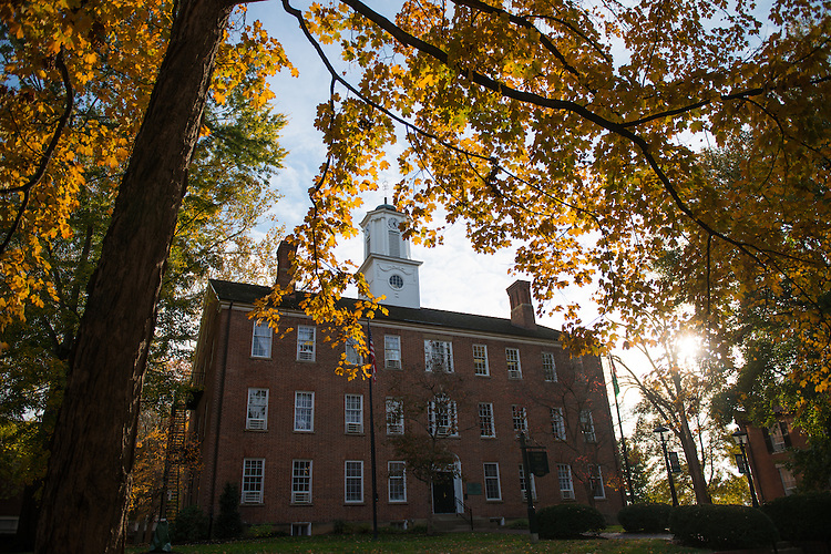 Cutler Hall overlooks Ohio University's College Green as the leaves change on October 31, 2016.