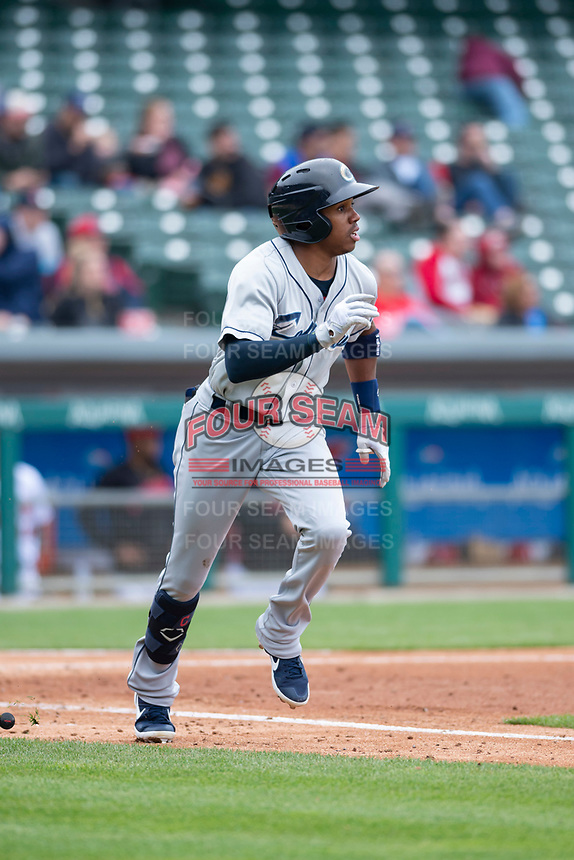 Columbus Clippers left fielder Greg Allen (1) hustles down the first base line during an International League game against the Indianapolis Indians on April 30, 2019 at Victory Field in Indianapolis, Indiana. Columbus defeated Indianapolis 7-6. (Zachary Lucy/Four Seam Images)