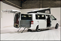 BNPS.co.uk (01202 558833).Pic: Danbury/BNPS..***Please Use Full Byline***..Glamper Van.....This van-tastic camper is guaranteed to turn heads after engineers used Thunderbirds-style technology to double living space at the touch of a button...It might look just like any other Volkswagen camper with all the usual mod-cons like a built-in cooker, fridge, convertible bed and even a lifting roof...But the new T5 Doubleback hides a secret compartment that automatically slides out by flicking a switch...The new invention transforms the elongated van into a 26ft long home on wheels and doubles the living space....