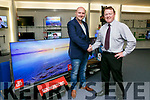 Kerry's Eye and Soundstore Fantasy football Online Competition winner Ogie Nolan, Castleisland was presented with a big TV Prize by  Anthony Guerin, Soundstore manager on Saturday