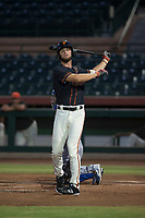AZL Giants Black designated hitter Zander Clarke (9) at bat during an Arizona League game against the AZL Royals at Scottsdale Stadium on August 7, 2018 in Scottsdale, Arizona. The AZL Giants Black defeated the AZL Royals by a score of 2-1. (Zachary Lucy/Four Seam Images)
