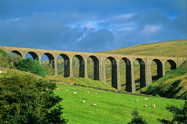 Railroad viaduct in Dentdale Valley along the Dales Way Footpath, near Cowgill, Cumbria, England, AGPix_0384.