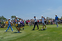 Rickie Fowler (USA), Phil Mickelson (USA), and Tiger Woods (USA) head down 1 during round 1 of The Players Championship, TPC Sawgrass, at Ponte Vedra, Florida, USA. 5/10/2018.<br /> Picture: Golffile | Ken Murray<br /> <br /> <br /> All photo usage must carry mandatory copyright credit (&copy; Golffile | Ken Murray)