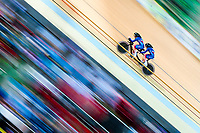 Picture by Alex Whitehead/SWpix.com - 23/03/2018 - Cycling - 2018 UCI Para-Cycling Track World Championships - Rio de Janeiro Municipal Velodrome, Barra da Tijuca, Brazil - Lora Fachie piloted by Corrine Hall of Great Britain compete in the Women's B 3km Pursuit qualifying.