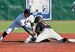 February 22, 2013: Nevada Wolf Pack shortstop Kyle Hunt makes the tag as Northern Illinois Huskies runner Jamison Wells steals second during their NCAA baseball game played at Peccole Park on Friday afternoon in Reno, Nevada.