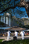 The Halekulani Hotel, the Hawaiian name meaning House Befitting Heaven, located on Waikiki beach in Honolulu, Hawaii offers stunning views of Diamond Head in a historic, secluded and exclusive setting.  House Without a Key, the most casual of the three restaurants on the property, offers nightly entertainment.