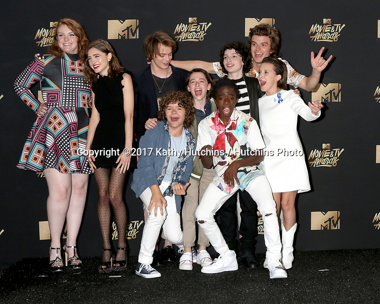 LOS ANGELES - MAY 7:  Cast of 'Stranger Things' at the MTV Movie and Television Awards on the Shrine Auditorium on May 7, 2017 in Los Angeles, CA
