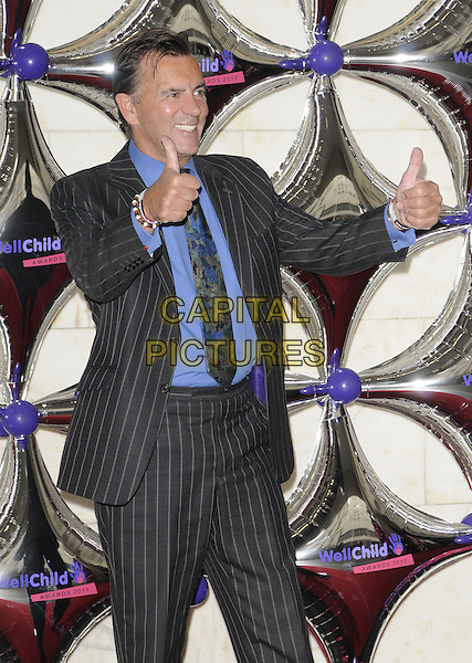DUNCAN BANNATYNE.WellChild Awards 2011, InterContinental hotel, Park Lane, London, England..August 31st, 2011.half length black grey gray pinstripe suit jacket tie blue shirts hands thumbs up.CAP/CAN.©Can Nguyen/Capital Pictures.