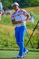 Rickie Fowler (USA) watches his tee shot on 12 during Thursday's round 1 of the 117th U.S. Open, at Erin Hills, Erin, Wisconsin. 6/15/2017.<br /> Picture: Golffile | Ken Murray<br /> <br /> <br /> All photo usage must carry mandatory copyright credit (&copy; Golffile | Ken Murray)