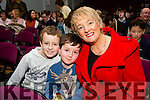 Enjoying the Killorglin CYMS Pantomime Madame Butterfly AKA Aladdin on Sunday were Denis Maroney , Daniel Fenton and Lynn Fenton