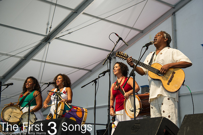 Tizumba & Tambor Mineiro of Minas Gerais-Brazil performs during the New Orleans Jazz & Heritage Festival in New Orleans, LA.