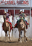 Geoff Burr, left, and Garrick Jackson race at the International Camel Races in Virginia City, Nev., on Friday, Sept. 9, 2011. .Photo by Cathleen Allison