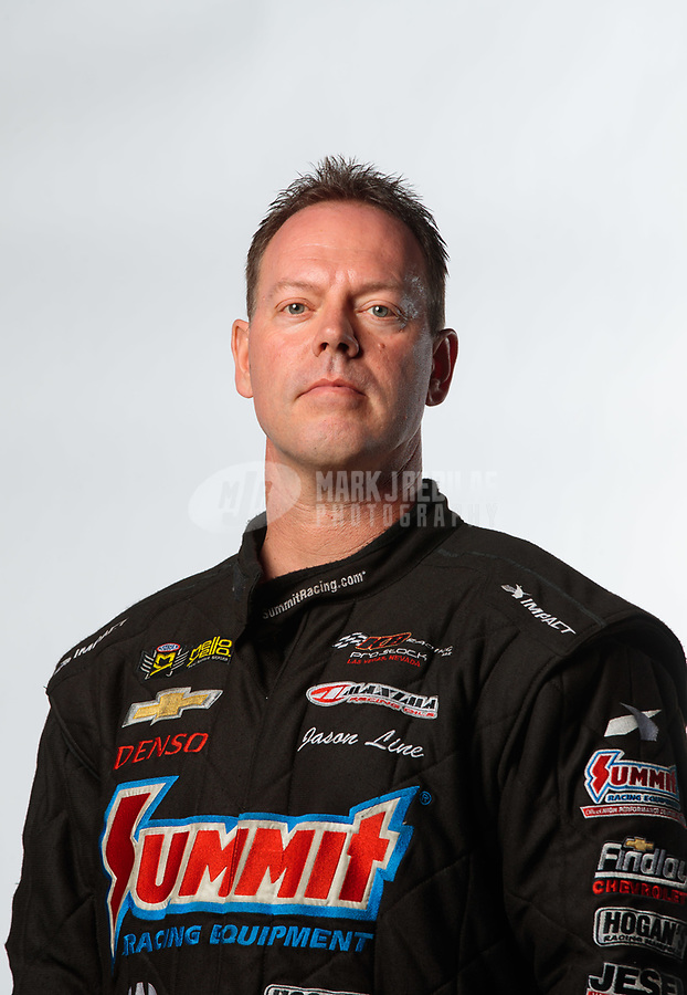 Feb 6, 2019; Pomona, CA, USA; NHRA pro stock driver Jason Line poses for a portrait during NHRA Media Day at the NHRA Museum. Mandatory Credit: Mark J. Rebilas-USA TODAY Sports