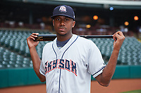 Colorado Springs Sky Sox center fielder Lewis Brinson (28) poses for a photo before a game against the Oklahoma City Dodgers on June 2, 2017 at Chickasaw Bricktown Ballpark in Oklahoma City, Oklahoma.  Colorado Springs defeated Oklahoma City 1-0 in ten innings.  (Mike Janes/Four Seam Images)